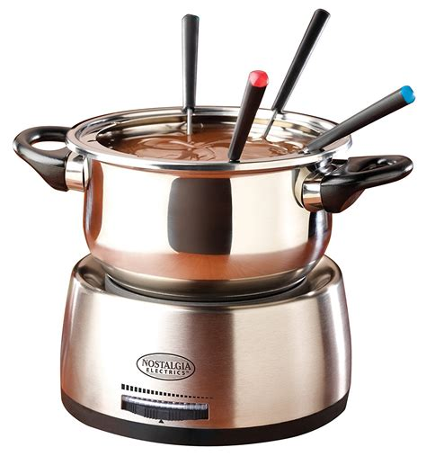 nostalgia electric fondue pot set stainless steel cheese chocolate dessert forks