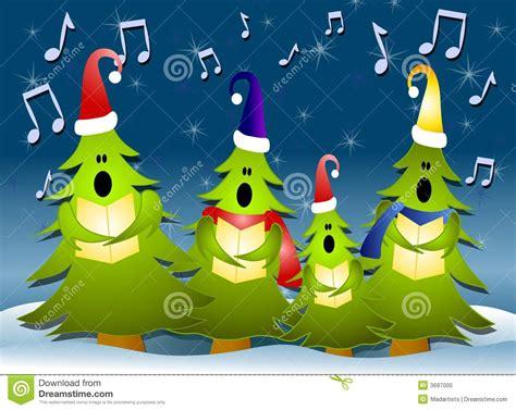 christmas tree carolers singing in snow stock illustration