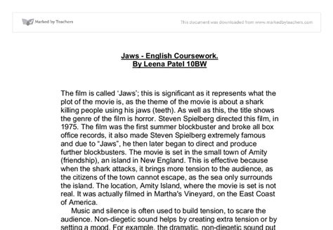 Jaws Essay jaws essay gcse marked by teachers