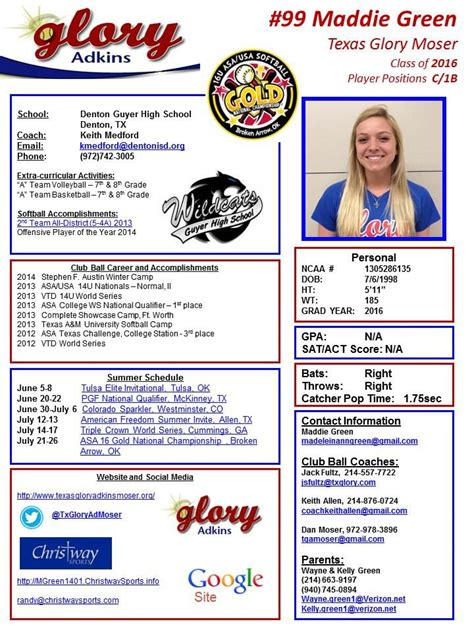 Player Profile Texas Glory Adkins Moser Maddie Green Softball Profile Template Free