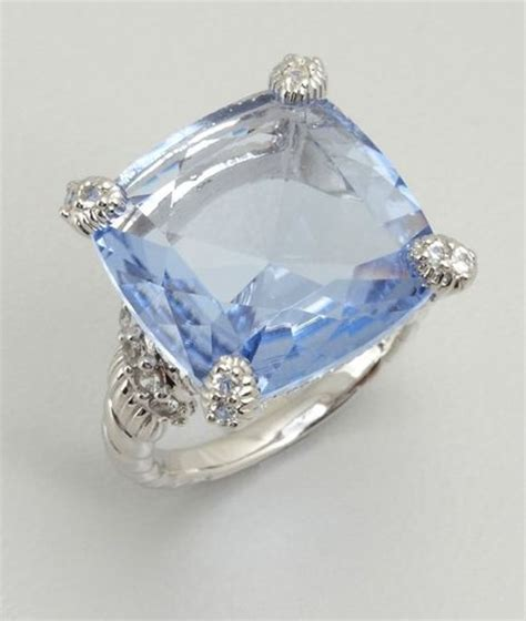 judith ripka blue quartz and white sapphire cushion cut