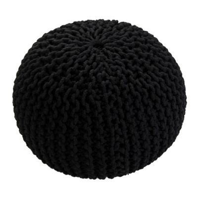 black knitted pouffe buy homescapes cotton black knitted pouffe footstool from