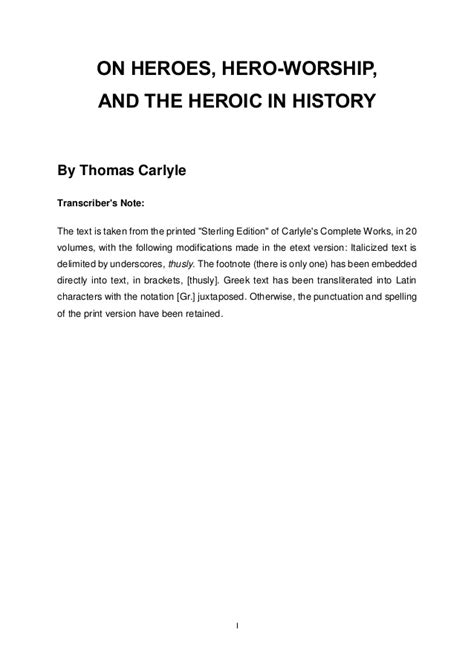 on heroes worship and the heroic in history
