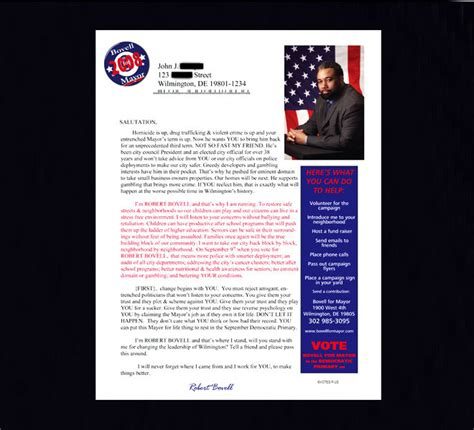 Letter Support Political Candidate fundraiser for political candidate letters home