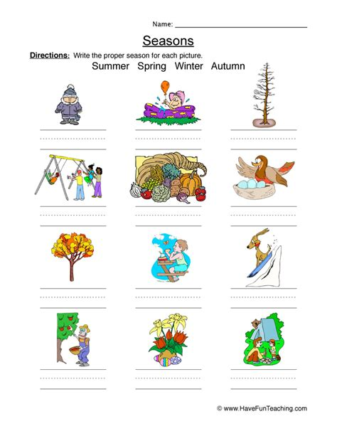 seasons of the year worksheets teaching