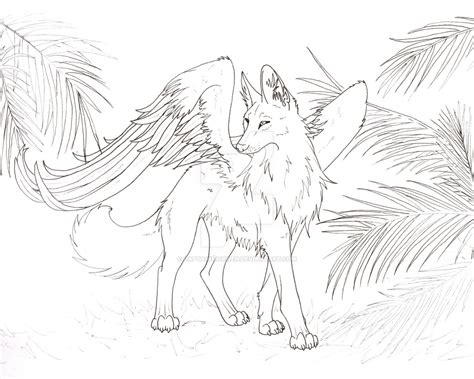 flying wolf coloring page winged maned wolf by captainmorwen on deviantart