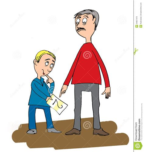 father and son cartoon father and his son boy gets bad grades in school royalty
