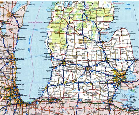 road map of michigan michigan state road