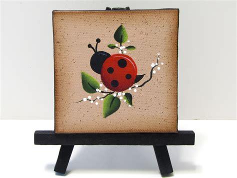 Ladybug Mini Canvas on Easel Handpainted Home Decor Shelf