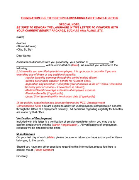 termination letter severance sle termination letter sle due to downsizing 28 images