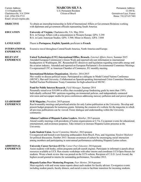 Career Resume by Resume Sles Uva Career Center