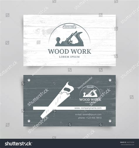 wrench business card template woodwork vintage style business card design stock vector