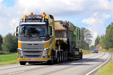 yellow volvo fh semi hauls oversize load editorial stock image image