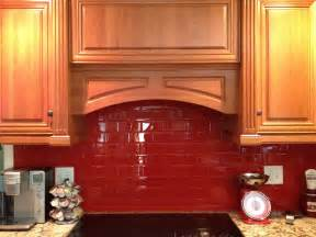 Red Kitchen Backsplash by Contemporary Red Kitchen Backsplash With Wooden Cabinet