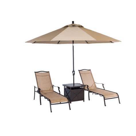 Patio Umbrella Side Table Hanover Monaco 4 Patio Chaise Lounge Set With 11 Ft Umbrella And Side Table Monchs4pc Su