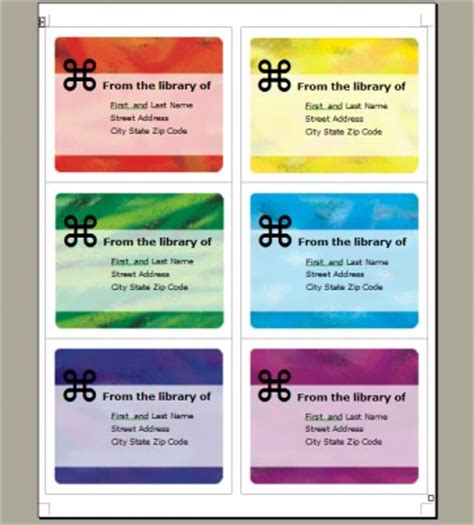 bookplate label template brushed rainbow