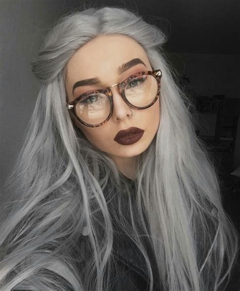 grey hair on ordinary women silver lipstick tumblr
