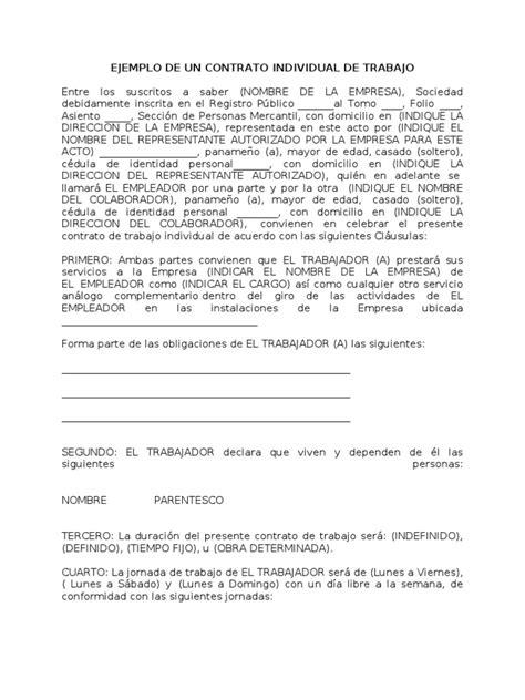 Carta De Trabajo Individual Modelo Contrato Individual De Trabajo
