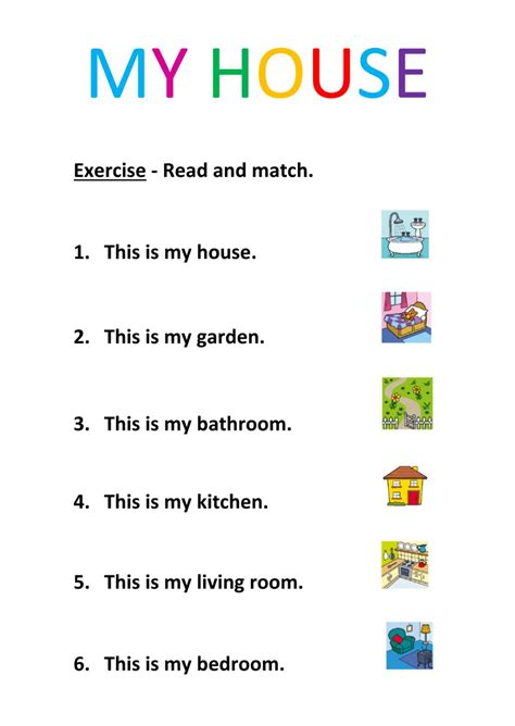 my read house read and match interactive worksheet