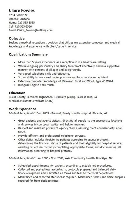 Receptionist Resume Objective by Sle Resume Receptionist Http Resumesdesign