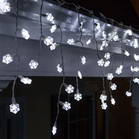 snowflake led icicle lights cool white white wire