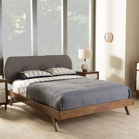 mid century modern queen bed baxton studio penelope mid century modern solid walnut wood grey fabric upholstered