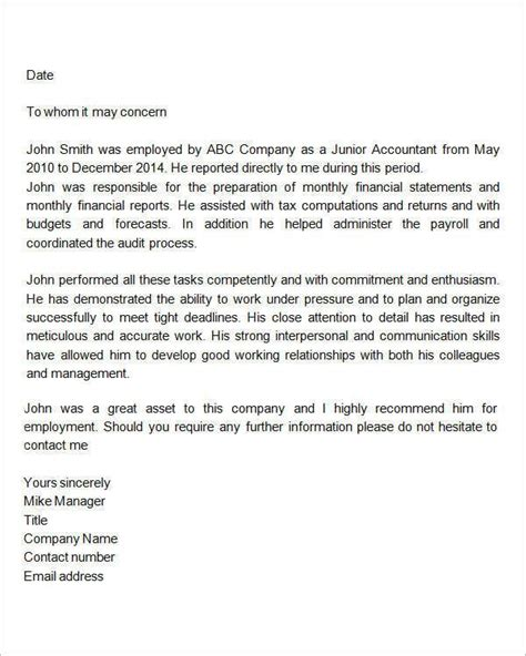 Work Recommendation Letter For College recommendation letter for employment doc new reference letter employee