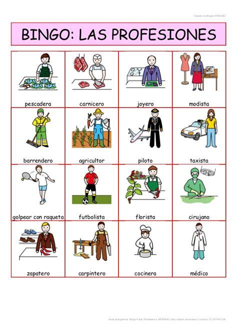 imagenes en ingles de oficios bingo de las profesiones