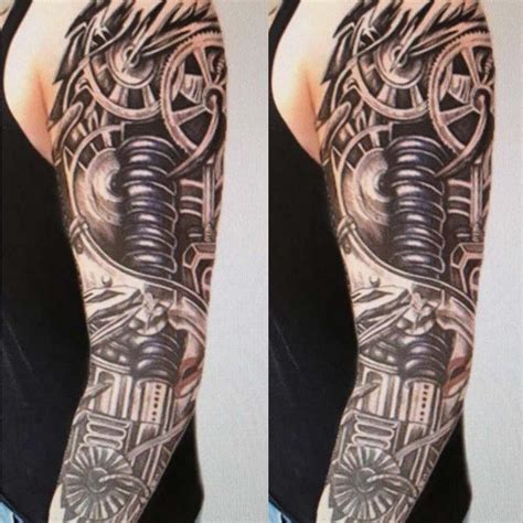 robotic tattoos mens arm sleeve robot biomechanical machine