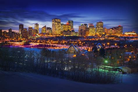 edmonton winter skyline photograph by corey hochachka