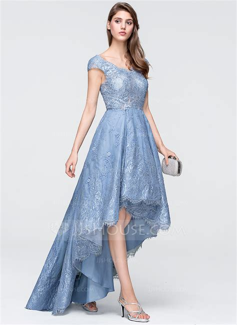 Assymetrical Dress by A Line Princess V Neck Asymmetrical Tulle Lace Prom