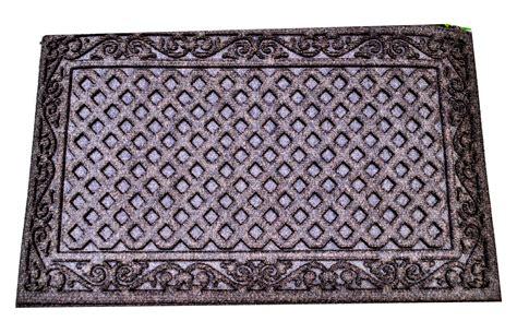 textures iron lattice entrance mat walnut