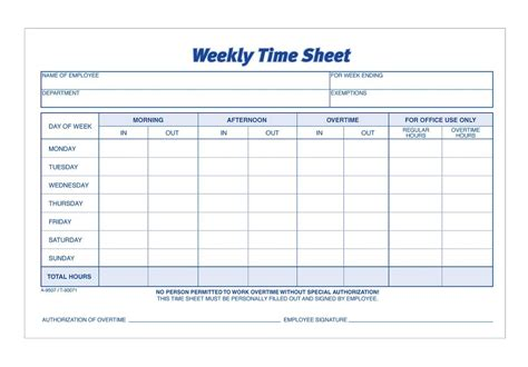 two week time card template time sheet weekly 2 part carbonless 100 st pk