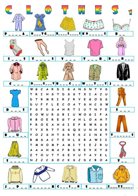 Free Clothing Search Clothes Wordsearch 1 Worksheet Free Esl Printable Worksheets Made By Teachers