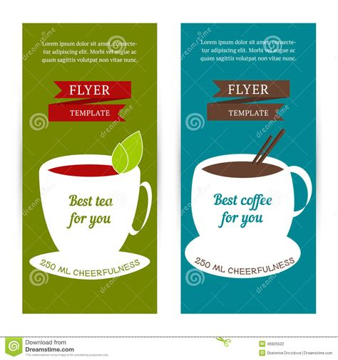 set of vertical banners flyer template with coffee and
