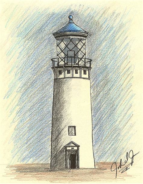 lighthouse of hawaii in blue drawing by jones
