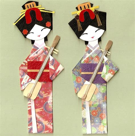 Paper Dolls Craft - japanese geisha in kimono with shamisen origami paper doll