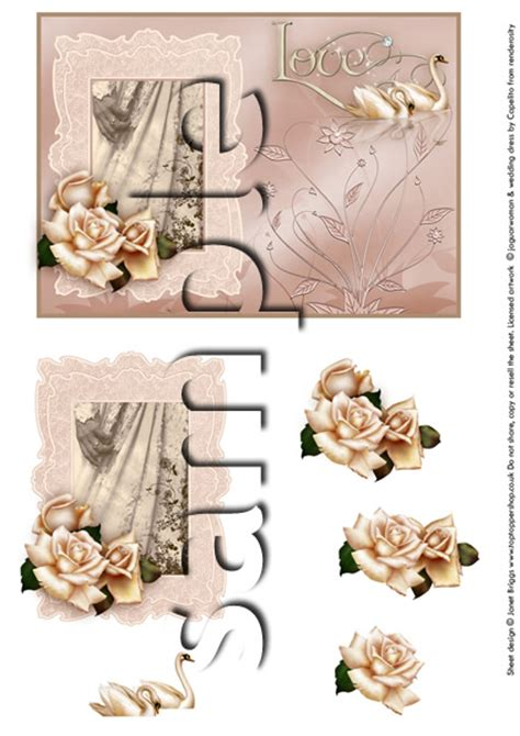 Wedding Decoupage Sheets - wedding dress card topper and decoupage digital