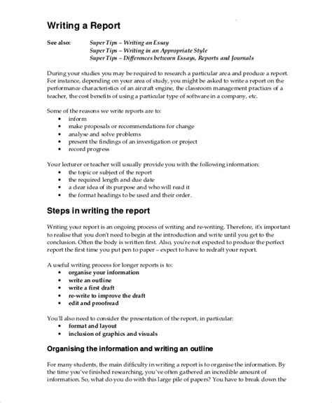 report writing format template writing template 15 free word pdf documents