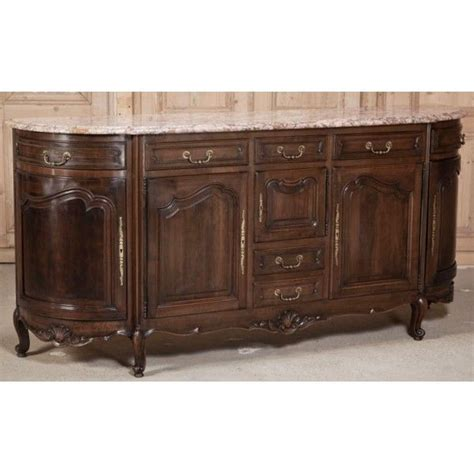 country french walnut marble top buffet antique