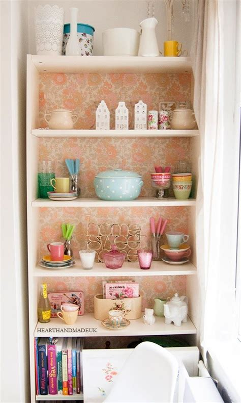 wallpaper cabinets pinterest vintage wallpaper backed ikea billy cabinet diy