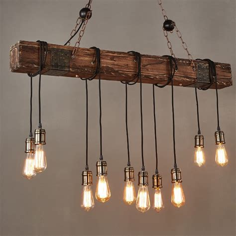 Edison Island Light Farmhouse Style Distressed Wood Beam Large Linear Island Pendant Light 10 Edison Bulbs