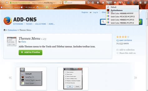 mozilla toolbar themes how to add a themes menu to the toolbar in firefox tip