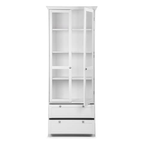 White Display Cabinet With Glass Doors Country Glass Display Cabinet In White With 2 Doors 28086