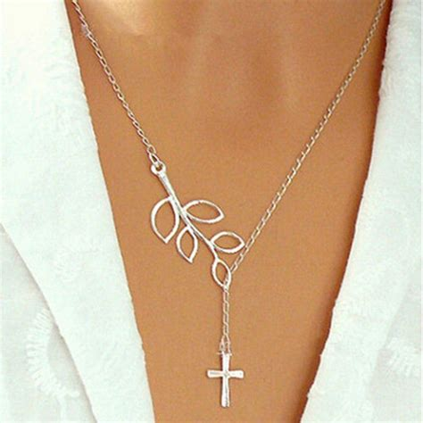 cheap fashion leaves cross shaped silver metal necklace