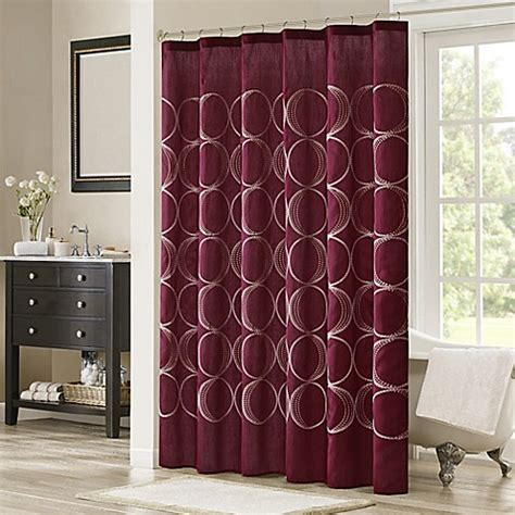 burgundy shower curtains buy madison park tamia embroidered shower curtain in