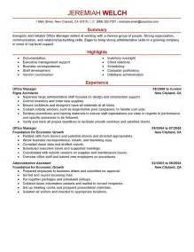 Resumes For Office by Resumes For Office Manager Exle 4 Ilivearticles Info