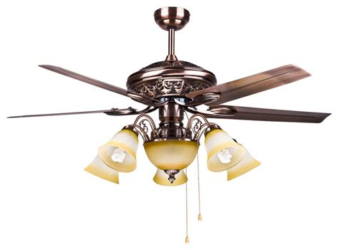 large bedroom ceiling fan lights with brass finish