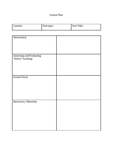 The Of Template lesson plan template