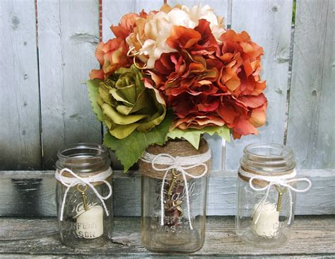 fall table decorations with jars rustic wedding decor jar wedding centerpiece wedding